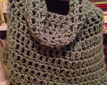 Seafoam Chunky Crochet Bennington Capelet Cowl Poncho