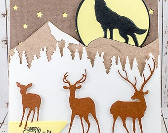 Wolf and Deer Scene Happy Father's Day Card
