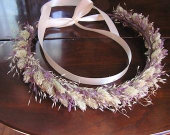 Dried Flower Wedding Crown, Bridal Wildflower Crown, Bridesmaid Crown, Dried Flowers, Dry Flower Hair Accessory, Crown, Lavender Crown