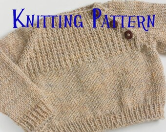 PDF Knitting Pattern - Oatmeal Sweater, Infant Pullover, Baby Toddler Knitting Pattern, Baby Jumper Pattern