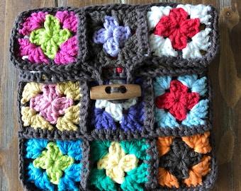 Crochet Granny Square Pouch, Button Pouch
