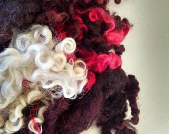 Hand Dyed Locks - Doll Hair - Teeswater - Gotland  - Spinning - Wool Locks - Lockspun - Tailspun - Felting - Fiber - Red Velvet Cake
