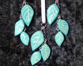 Leaf handmade ceramic earring and pendant set