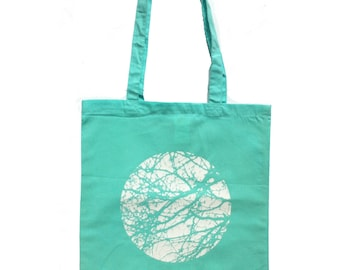 cotton tote bag, cotton tote, mint, shopping bag, tree bag, tree, nature, printed bag