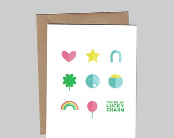 You're My Lucky Charm - Love & Friendship - Illustrated Blank Greeting Card