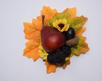 Autumn hair flower, vintage hair flower, flower hair clip, pin up hair, pear, blackberries, sunflowers, leaves, acorn, fascinator, wedding