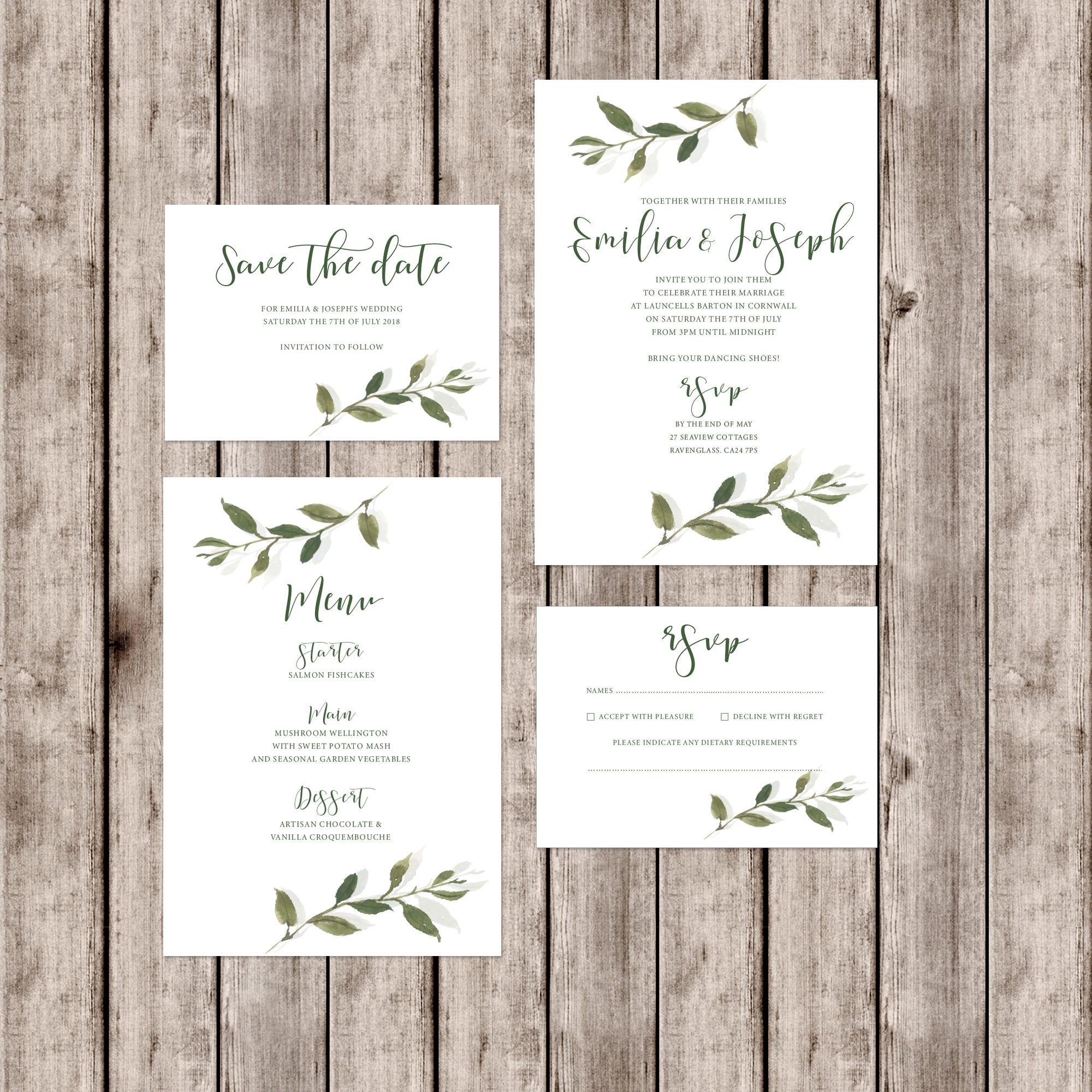 Sophisticated 'Somerset' Wedding Invitations With Leaf