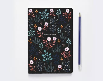 Dot Grid Notebook    Bullet Journal - Jupiter Flowers     Floral Notebook     cute writing journal