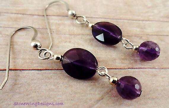 Faceted Oval Amethyst Drop Earrings, February Birthstone, Ultra Violet Jewelry