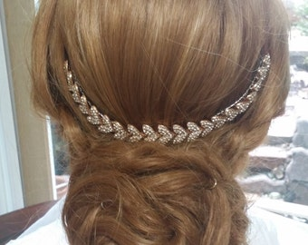 Rose Gold  Bride Back Hair Piece/ Rose Gold Back Hair Comb/Rhinestone Hair Piece/Rose Gold Wedding Hair Jewelry