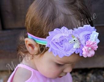 Unicorn Headband, Unicorn Shabby Headband, Unicorn Flower Headband, Baby Girl Headband, Newborn Headband, Unicorn Shabby Flower Headband,