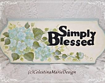 Simply Blessed Light Aqua Hydrangea Wood Sign, Hand Painted Original Design, Wall Decor, Display, ECS