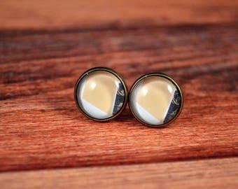 Statement Earrings, Statement Jewelry, 12mm Studs, 12mm Earrings, Glass Stud Earrings, Geometric Earrings, Geometric Jewelry, Office Studs