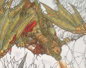 Dragon Coloring Pages Download, Printable PDF Fantasy Adult Coloring Book Page #2 of Dragon Series: Rubystone