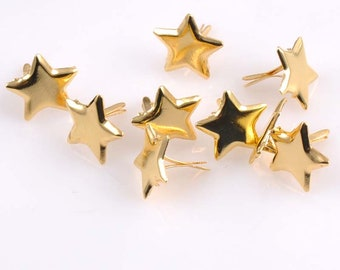 50 shiny gold star brads | golden stars | star brad | paper fasteners | scrapbook embellishments | metal
