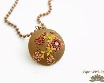 Handmade Polymer Clay Jewelry, Clay Applique Pendant Necklace, Floral Pendant, Handmade Jewelry, Clay Jewellery, Bohemian, Boho Necklace