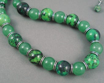 Azurite and Green Aventurine Necklace, Adjustable 17-19 Inch Strand of Green and Blue Azurite and Solid Green Aventurine