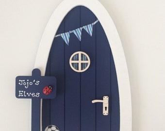 Boy's Personalised Fairy Door, Navy Blue Elf Door, Magical Indoor Miniature Door with Bunting & Signpost, Football Pixie Door