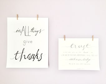 In All Things Give Thanks - Digital Download Art Typography Print