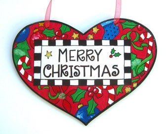 Christmas Decoration, Wooden Heart Sign, Decoupage Original Artwork, Holiday Decor, Small Gift