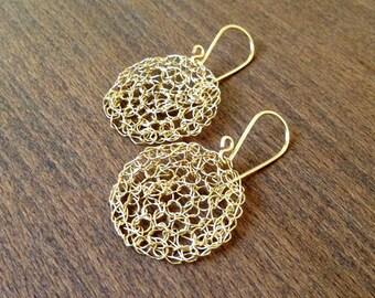 Wire crochet earrings Gold drop earrings. Round Dainty earrings.Dangle wire earrings. Bridal earrings Wire crochet jewelry.Wire jewelry