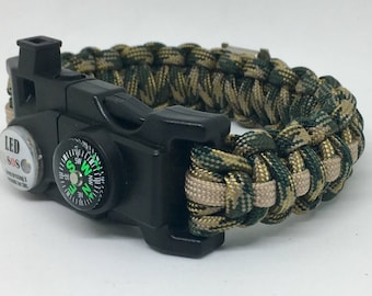 "Paracord Survival Bracelet ""The War-Dogg LED"" w/ Fire Starter Buckle, Compass, Whistle, P-38 Multi Tool, Handmade, Survival, Hunting, Hiking"