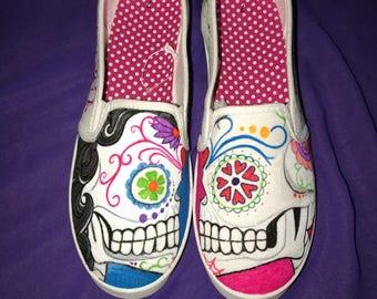 Sugar candy skull shoes