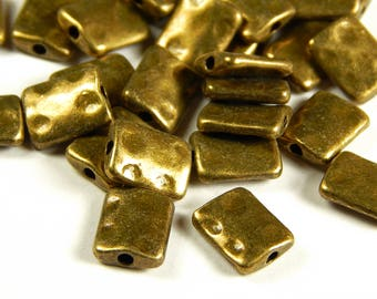 10 or 25 Pcs - 10x8x3mm Bronze Rectangle Spacer Beads - Antique Bronze Metal Spacers - Jewelry Supplies - Jewelry Making