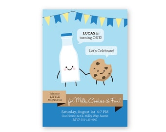 Milk and Cookies Theme Party Invitations CUSTOM PRINTABLES