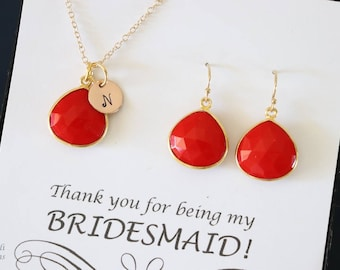 8 Coral Initial Bridesmaid Necklace and Earring set, Bridesmaid Gift, Red Gemstone, 14k Gold Filled, Initial Jewelry, Personalized
