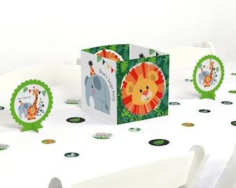 Jungle Party Animals - Centerpiece & Table Decoration Kit - Safari Zoo Animals Party Supplies - Baby Shower and Birthday Decoration -39 Pcs