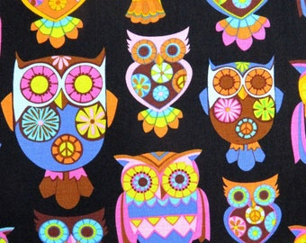 Owls on Black Children's Fabric Cotton Timeless Treasures #2049 By the Yard