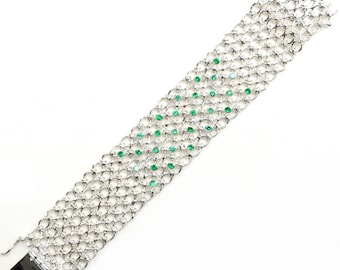 Handcraft 925 Sterling Silver with Green Cubic Zirconia Mesh Link Chain Bracelet for Women