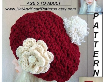 Chunky Hat - CROCHET PATTERN - age 5 child to adult - craft supplies, crochet supplies-knit hat, flower  #709 crochet patterns for Christmas