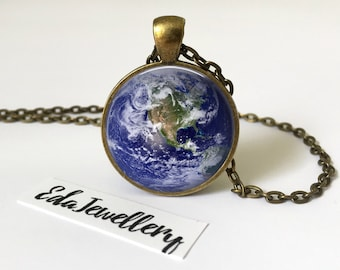 Earth Pendant, Space Jewellery, Solar System, World Necklace