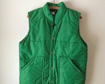 vintage 70's Swingster green puffy SKI vest