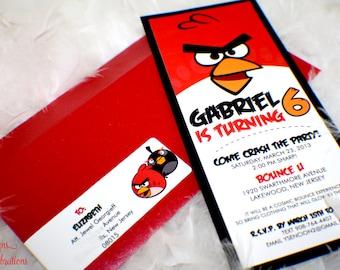 Angry Birds Invitations | Angry Birds Birthday Invitations | Angry Birds Party | Boy birthday invitations | Boy Birthday Party | Custom