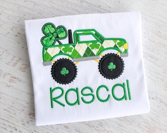 St. Patrick's Day Monster Truck Boys Embroidery Shirt-Customize with Child's Name