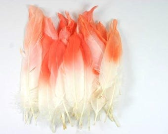 25 Painted Feathers White Feathers With An Orange Tip Airbrushed Feathers Craft Goose Feathers Unique Feathers Wedding Feathers Nr 2