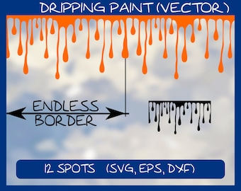 Dripping Paint (Vector), 12 color spots as vector graphics: svg eps dxf files, scalable vector file, colour stain spot patch ** DOWNLOAD **