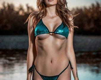 Shimmery Teal Blue with Black Trim Full Coverage Top Scrunch Butt Back 2 Piece Micro String Bikini Set One Size