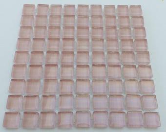 81 tiles translucent glass mosaic tiles 10 x 10 mm pink mosaic