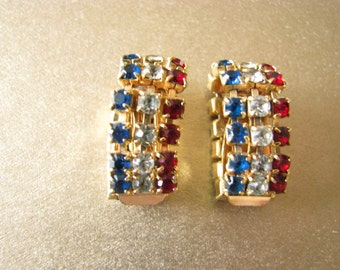 Red White and Blue Crystal Earrings Clip-On