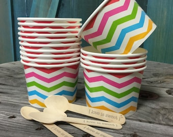 FREE SHIPPING!  -- We aLL SCrEAm fOr ICe CreAm -- 16 oz Ice Cream Cups and Printed Spoons 25 Pack -- Rainbow Chevron on White