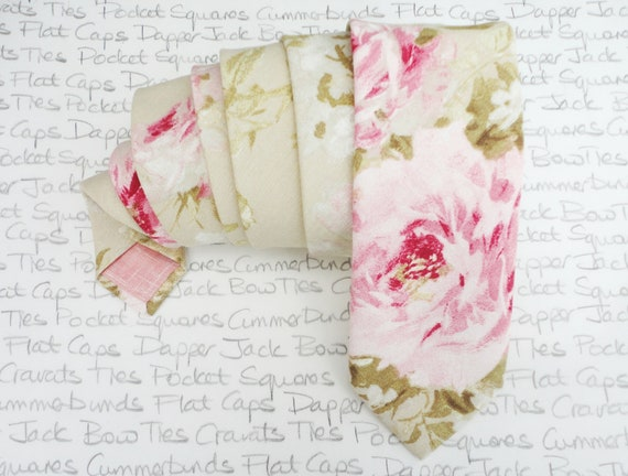 Floral wedding tie, blush pink roses on a very pale sage background