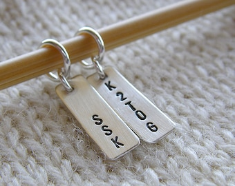 """Personalized Knitting / Crochet Stitch Markers - Hand Stamped Sterling Silver - 3/4"""" Bar Markers in 6 Styles - Knit Notions, Knitters Gift"""