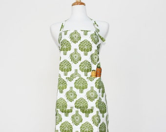Green Artichoke Adult Apron - Kitchen Apron - Adult Cotton Apron with Artichokes - Adult Organic Apron - GOTS Certified