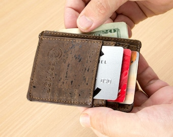 Mens Front Pocket Wallet RFID - Lightweight Cork Wallet for Men - Men's Minimalist Wallet - Thin Wallet - Eco Gifts (CK122)
