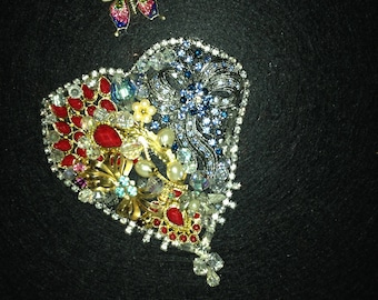 Heart Collage With Vintage Jewelry Gift for Her