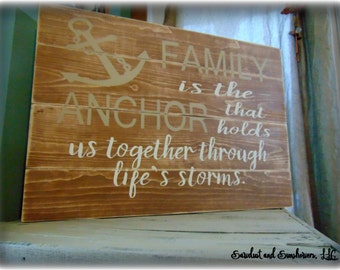 Wood plank sign, pallet sign,wood plank art,anchor sign,anchor decor,nautical theme,family sign,large wooden sign,rustic decor,wood word art